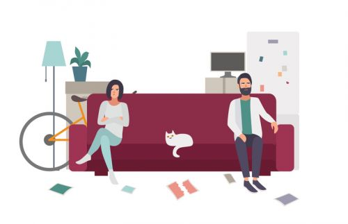 Illustration of Couple on Couch - Marital and Separate Property