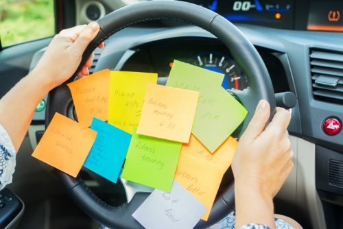 Parenting To Do List: Sticky Notes on Steering Wheel