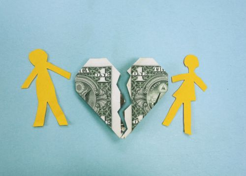 Alimony - Split Heart-Shaped Dollar Bill and Paper Doll Couple