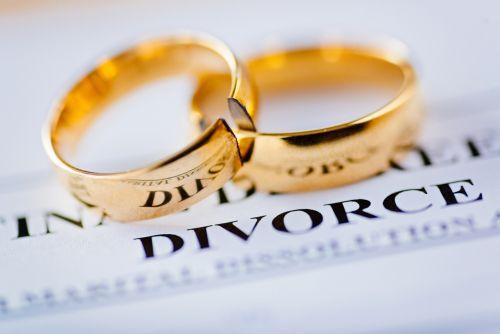 Two broken golden wedding rings